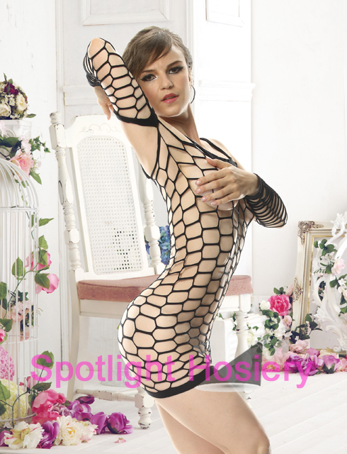 fishnet mini lingerie dress with sleeves