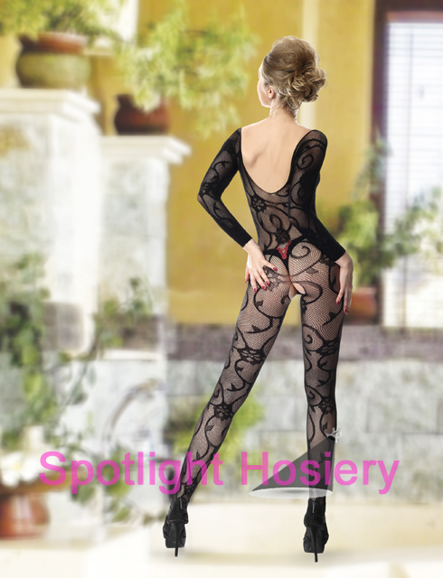 long sleeve sexy criss cross front floral vine bodystocking