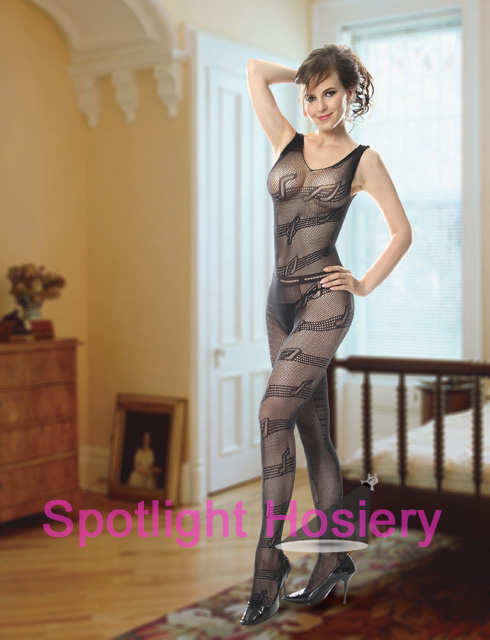 net bodystocking with music notes