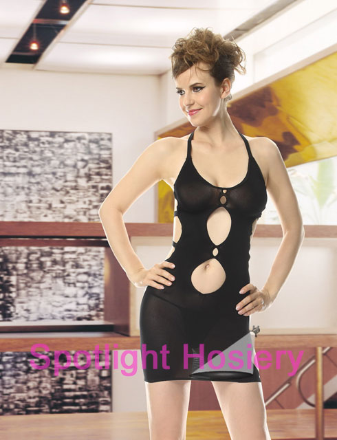 Black Sheer Cutout Mini Dress Wholesale