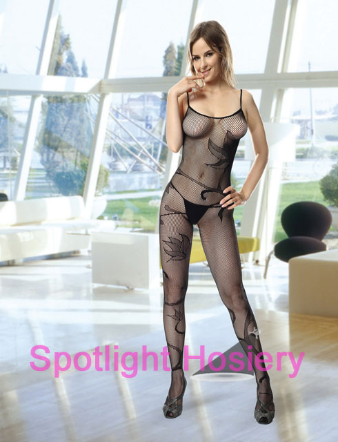 Fishnet Bodystocking with Floral Pattern
