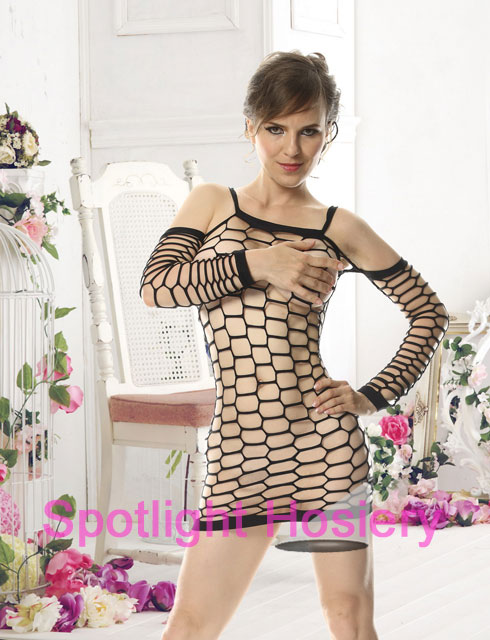 open hole large fishnet black bodystocking dress with sleeves