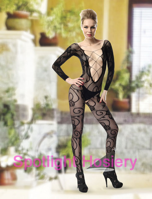 Sexy Bodystocking with Deep Laceup Front
